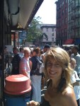 Terri in front of slice line at Ben's in SoHo.