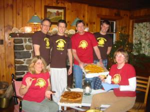 Shauna's mom Sheila and family rockin' their Home Slice gear in the Adirondak Mountains (That's in NY, Yo!)